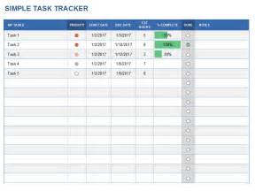 simple project tracking template task tracker excel template excelbuz
