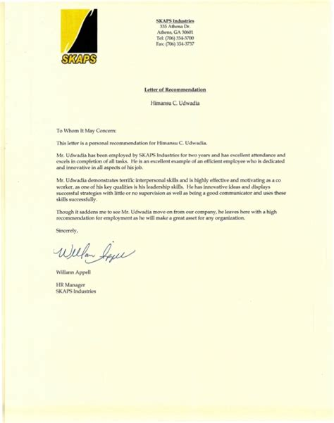 Recommendation Letter Human Resources hr letter hr manager appointment letter format template