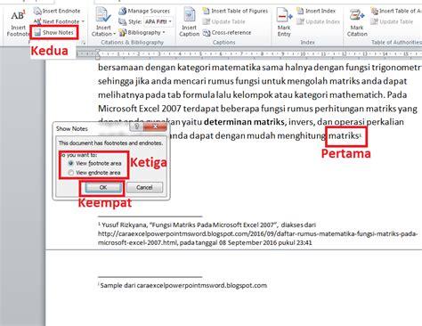 cara membuat catatan kaki ms word 2010 cara membuat footnote contoh penulisan catatan kaki ms