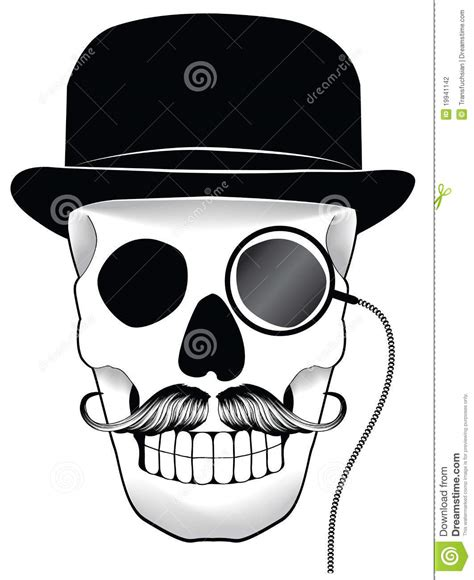 illustration of a skull with hat mustache and mon stock