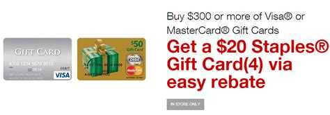 Staples Gift Card Deal - staples 20 rebate with the purchase of 300 in visa or mastercard gift cards