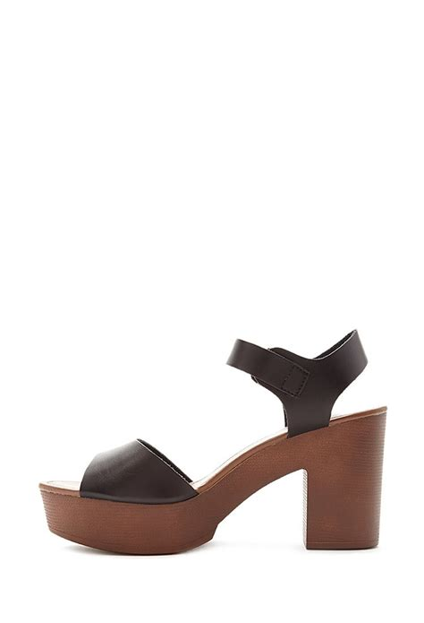 faux leather sandals forever 21 faux leather platform sandals in black lyst