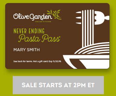 olive garden 8 week pass olive garden never ending pasta pass southern savers