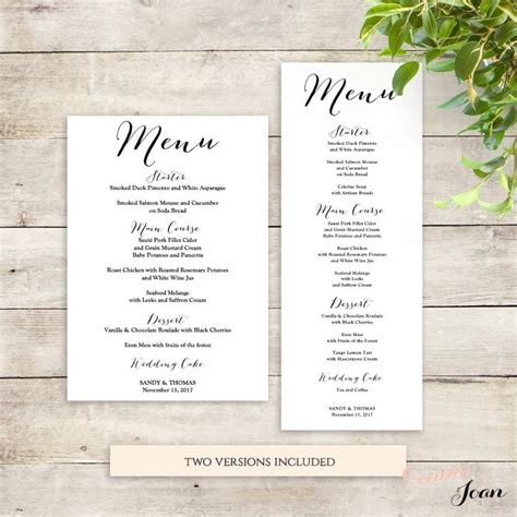 Menu Wedding Menu Template Wedding Menu Size Template