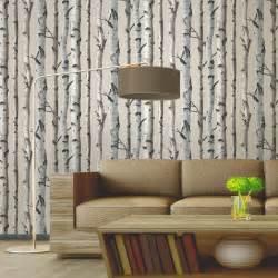 fine decor birch trees 10m wallpaper white silver new