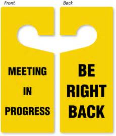 Free Online Room Designer be right back meeting in progress door hanger 2 sided