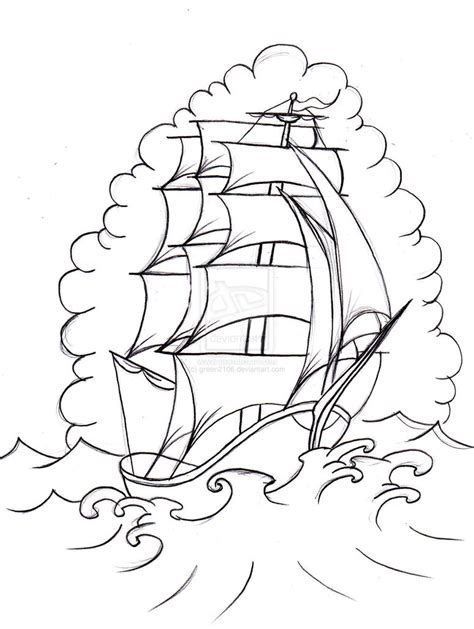 old school tattoo outlines old school boat 2 by green2106 on deviantart meart