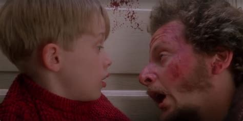 someone added blood splatter to the end of home alone