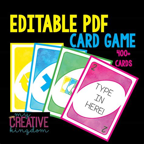 endless card template pdf uno card editable pdf and endless differentiation