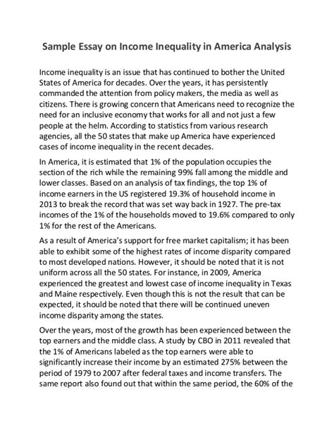 What Is America Essay by Sle Essay On Income Inequality In America Analysis