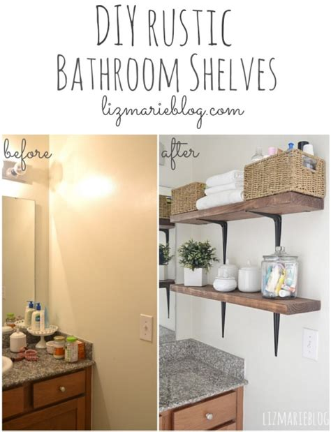 diy bathroom storage ideas roomsketcher blog diy rustic wood metal bathroom shelves liz marie blog