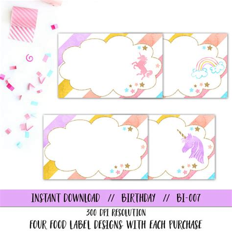 printable unicorn meat label unicorn food tent unicorn food label rainbow food label