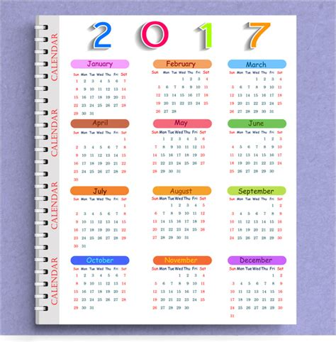 calendar 2017 templates note book free vector in adobe