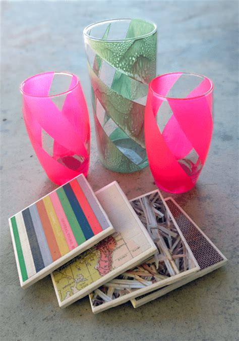 Awesome Handmade Gifts - tile coasters opaque striped glasses my baking addiction