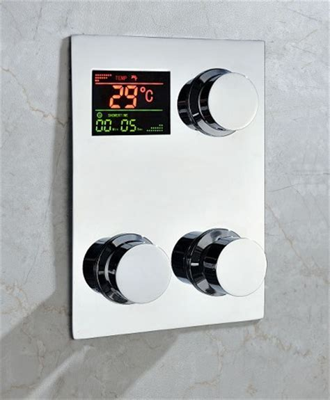 Kitchen Faucet Stores by Digital Thermostatic Temperature Sensitive Square Shower