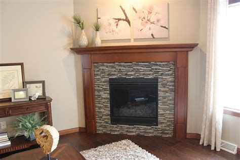Glass Tile Fireplace Pictures by New Fireplace Surround