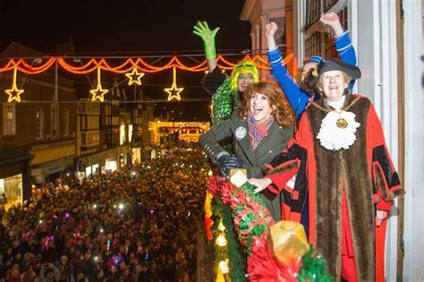 panto stars illuminate guildford at christmas lights