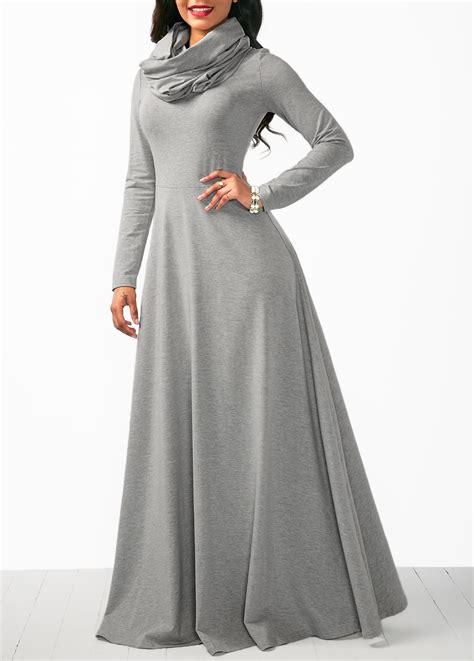 Sleeve Cowl Neck Dress cowl neck grey sleeve maxi dress liligal usd