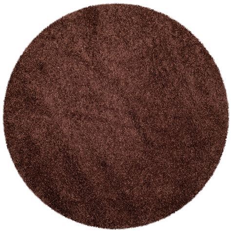 Safavieh Milan Shag Brown 3 Ft X 3 Ft Round Area Rug 3 Foot Area Rugs