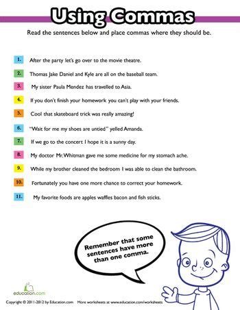 108 best comma rules images on pinterest handwriting