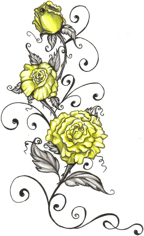 rose tattoo with writing best 25 yellow tattoos ideas on