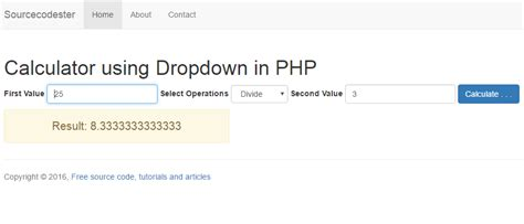 calculator php calculator using dropdown in php free source code
