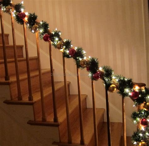how to decorate banister with garland christmas staircase garland ideas best staircase ideas