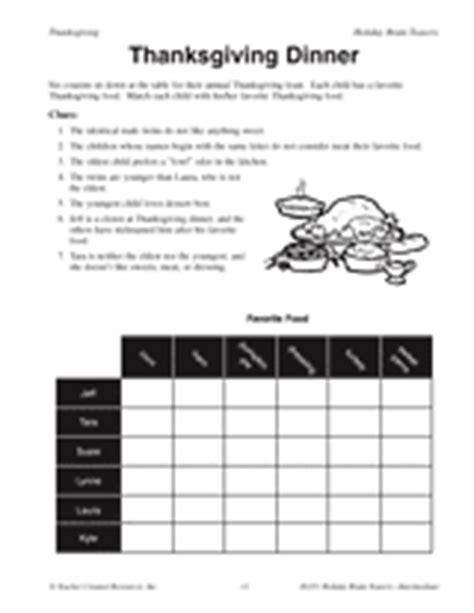 printable thanksgiving logic puzzles thanksgiving dinner printable math activity grades 3 4
