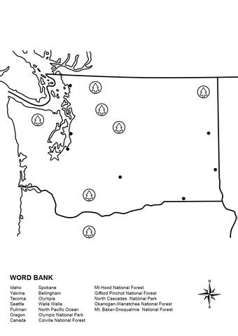 washington map worksheet coloring page free printable