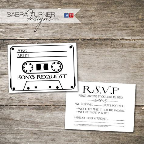 song request card template cassette rsvp card song request card wedding rsvp