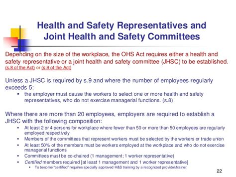 joint health and safety committee ohsha new employee orientation