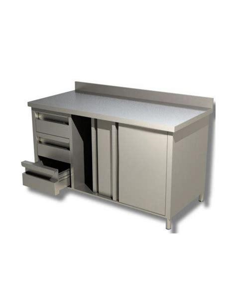 tavolo armadiato inox tavolo armadiato inox con cassettiera a 3 cassetti cm