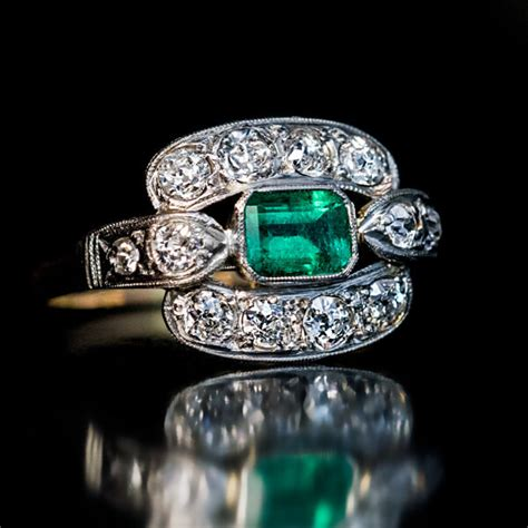 Deco Engagement Rings by Deco Vintage Emerald Engagement Ring Antique