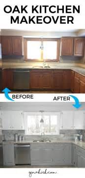 Faux Granite Paint - our oak kitchen makeover oak kitchen cabinets subway tile backsplash and white cabinets