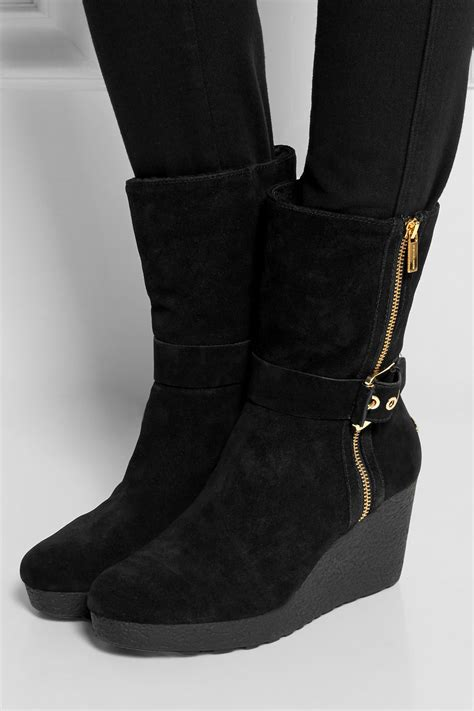 michael michael kors lizzie shearling lined suede wedge