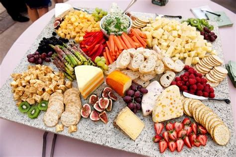 food platters cheese platters and tables on
