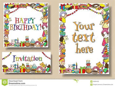birthday card border templates happy birthday set vector illustration