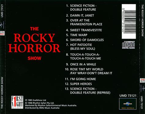 back of cd rockymusic rocky horror show 1973 cast cd