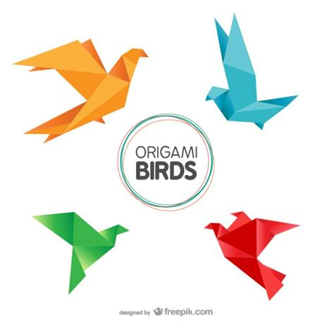 origami birds pack vector free