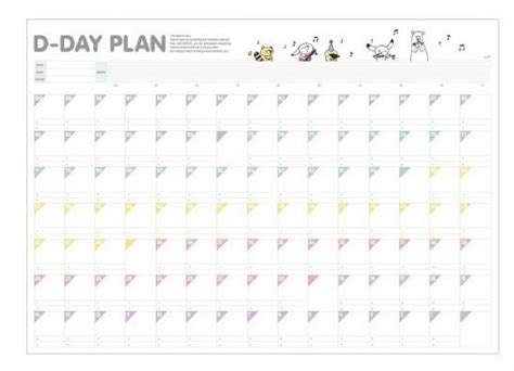 countdown chart template korean style d day plan 100 days countdown schedule