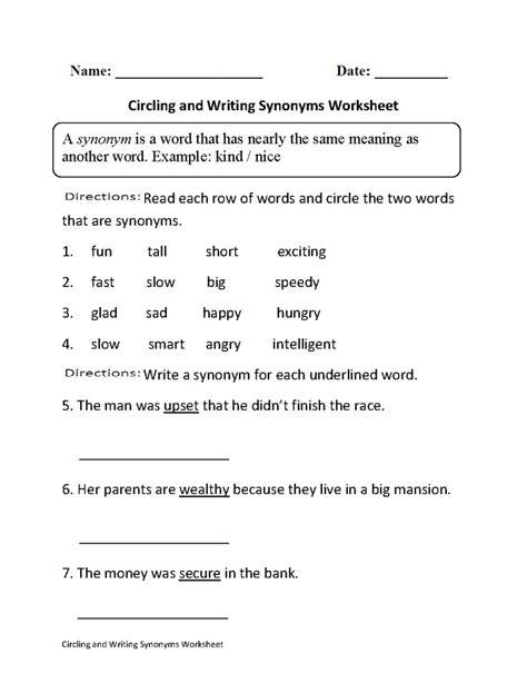circling  writing synonyms worksheet part  beginner englishlinxcom board pinterest