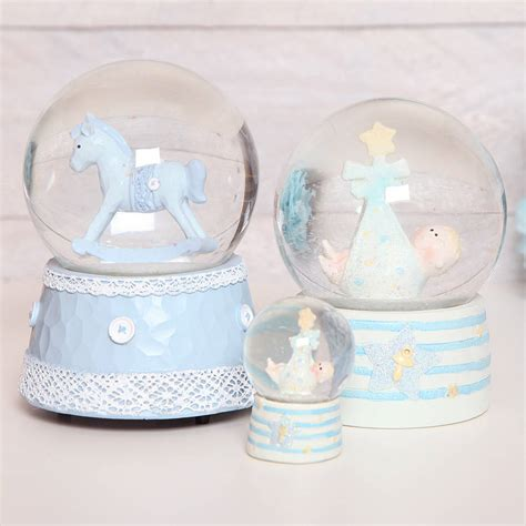 blue musical rocking horse glitter globe dome by red berry