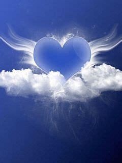 angel blue heart wallpaper