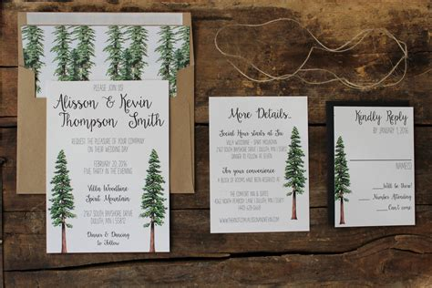wedding invitations woodland rustic tree wedding invitation woodland invitation set
