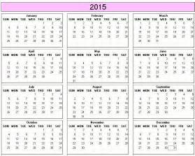 2015 calendar printable year planner