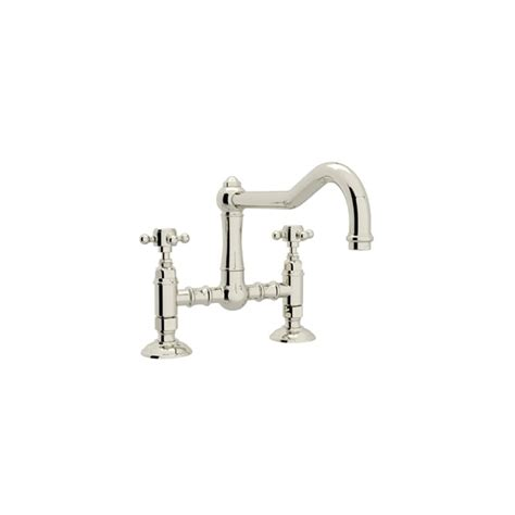 Rohl Country Kitchen Bridge Faucet Faucet Com A1459xmpn 2 In Polished Nickel By Rohl