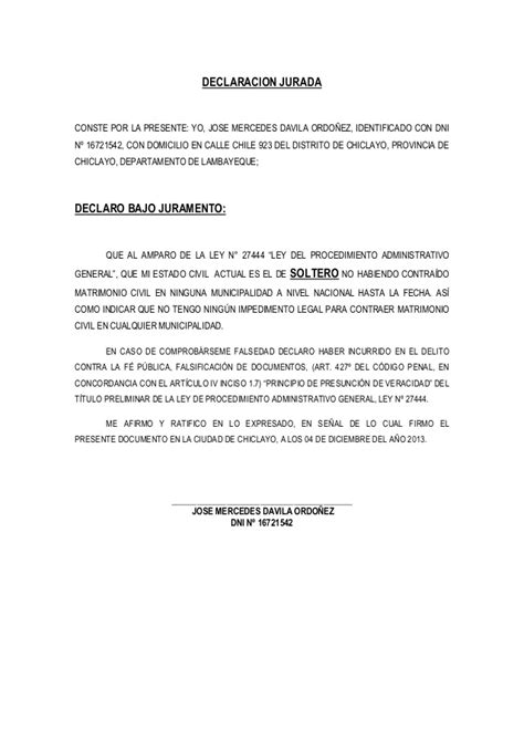 declaracion jurada de matrimonio declaracion jurada de solteria