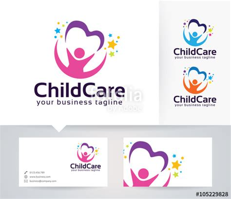 childcare business cards templates quot childcare vector logo with alternative colors and