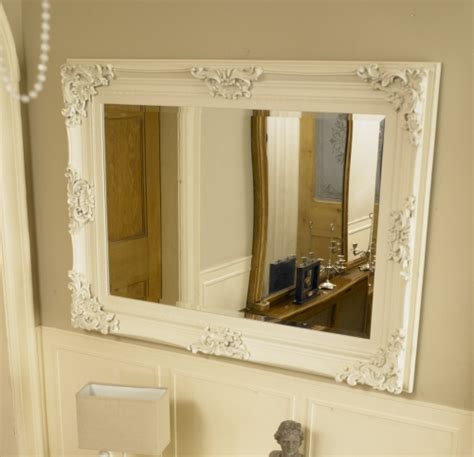 large framed bathroom wall mirrors large ivory ornate framed mirror bathroom kitchen wall
