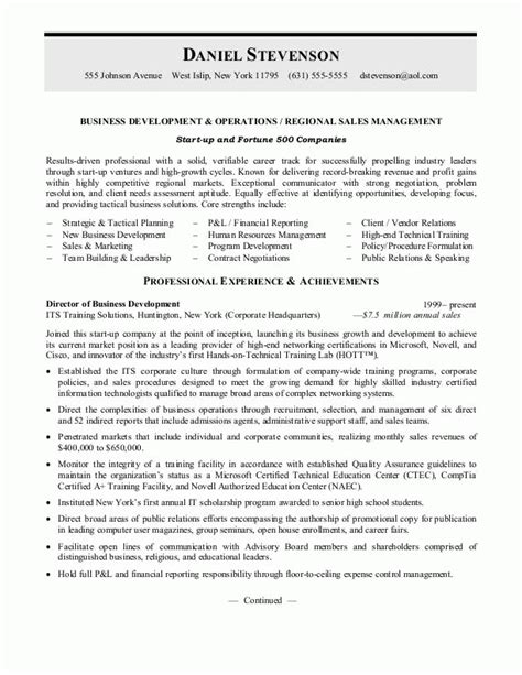 business manager resume sles business development resume or sales management resume